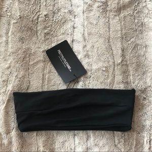 PRETTYLITTLETHING Size 2 Black Bandeau Bikini Top